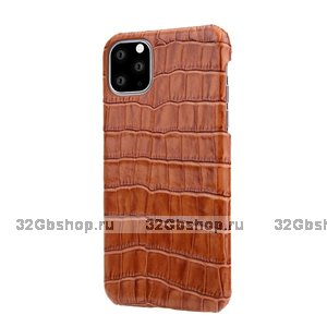 Коричневый чехол из кожи крокодила для iPhone 12 Pro Max брюхо