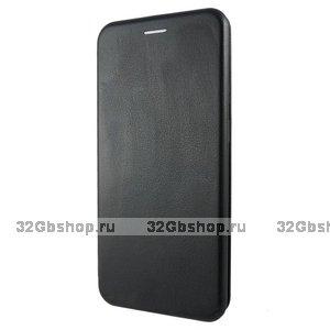 """Черный кожаный чехол книжка для iPhone 12 Pro Max (6.7"""")"""