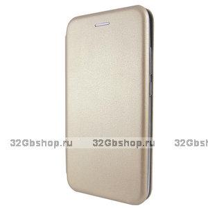 """Золотой кожаный чехол книжка для iPhone 12 Pro Max (6.7"""")"""