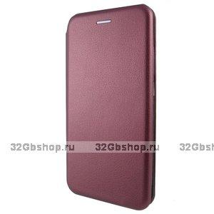 """Бордовый кожаный чехол книжка для iPhone 12 Pro Max (6.7"""")"""