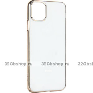 """Силиконовый чехол с золотым бампером для iPhone 12 Pro Max (6.7"""")"""