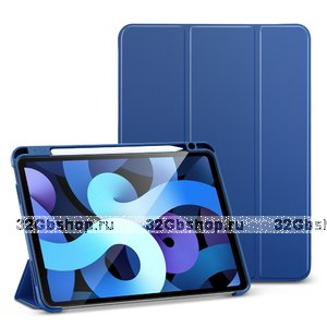 Синий чехол книжка для iPad Air 4 2020 с держателем Apple Pencil