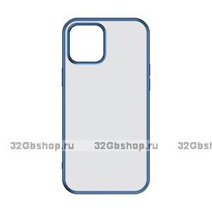 """Синий пластиковый чехол для iPhone 12 mini (5.4"""") с силиконовыми бортами - TOTU Gingle Series Blue"""