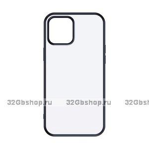 """Черный пластиковый чехол для iPhone 12 mini (5.4"""") с силиконовыми бортами - TOTU Gingle Series Black"""