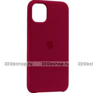 """Бордовый силиконовый чехол накладка для Apple iPhone 12 mini (5.4"""") - Silicone Case Plum"""