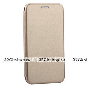 Золотой кожаный чехол книжка для iPhone 12 mini - Art Case Leather Book Case Gold