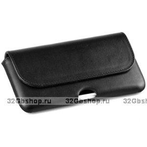 Черный кожаный чехол кобура для iPhone 12 mini