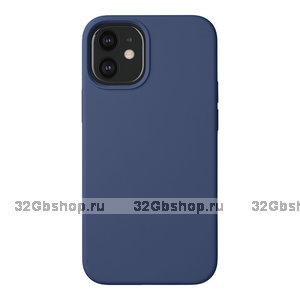 Синий пластиковый чехол с силиконовым покрытием Deppa Liquid Silicone Blue для Apple iPhone 12 mini