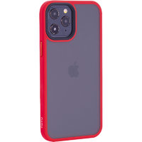"""Матовый пластиковый чехол для iPhone 12 Pro Max (6.7"""") с красными силиконовыми бортами - TOTU Gingle Series Red Case"""