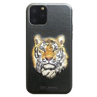 Черный кожаный чехол для iPhone 12 Pro Max тигр - Santa Barbara Polo&Racquet Club Savanna Series Tiger