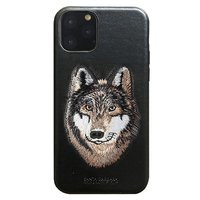 Черный кожаный чехол для iPhone 12 Pro Max волк - Santa Barbara Polo&Racquet Club Savanna Series Wolf