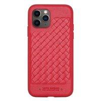 Красный плетеный кожаный чехол для iPhone 12 Pro Max - Santa Barbara Polo&Racquet Club Ravel Series Red
