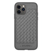 Серый плетеный кожаный чехол для iPhone 12 Pro Max - Santa Barbara Polo&Racquet Club Ravel Series Grey