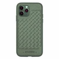 Зеленый плетеный кожаный чехол для iPhone 12 Pro Max - Santa Barbara Polo&Racquet Club Ravel Series Green