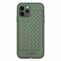 Зеленый плетеный кожаный чехол для iPhone 12 Pro Max - Santa Barbara Polo&Racquet Club Ravel Series Green