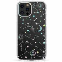 Прозрачный пластиковый чехол для iPhone 12 Pro Max с силиконовый бампер со стразами Swarovski звезды  - KINGXBAR