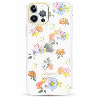 Прозрачный пластиковый чехол для iPhone 12 Pro Max со стразами Swarovski цветы - KINGXBAR
