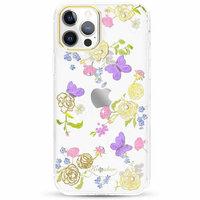 Прозрачный пластиковый чехол KINGXBAR со стразами Swarovski для iPhone 12 Pro Max цветы и бабочки