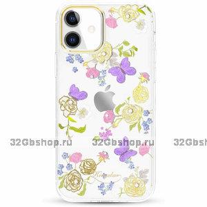 Прозрачный пластиковый чехол со стразами цветы и бабочки для iPhone 12 mini с силиконовым бампером - KINGXBAR
