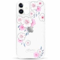 Прозрачный пластиковый чехол со стразами розовые цветы для iPhone 12 mini с силиконовым бампером - KINGXBAR