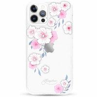 Прозрачный пластиковый чехол KINGXBAR со стразами Swarovski для iPhone 12 Pro Max розовые цветы