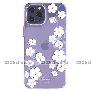 Прозрачный пластиковый чехол KINGXBAR со стразами Swarovski для iPhone 12 Pro Max белые цветы