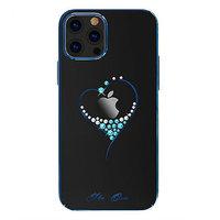 Прозрачный пластиковый чехол со стразами Swarovski для iPhone 12 Pro Max синий бампер - KINGXBAR The One Blue