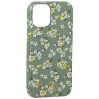 "Зеленый пластиковый чехол со стразами для iPhone 12 mini (5.4"") цветы - KINGXBAR Swarovski Flowers Series Green"