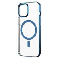 Прозрачный магнитный силиконовый чехол для iPhone 12 mini с синим бортом