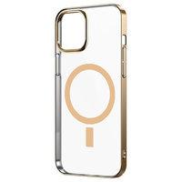 Прозрачный магнитный силиконовый чехол для iPhone 12 mini с золотым бортом