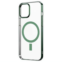Прозрачный магнитный силиконовый чехол для iPhone 12 mini с зеленым бортом