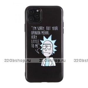 """Черный силиконовый чехол Рик и Морти для iPhone 12 mini (5.4"""")"""