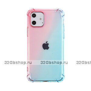 """Прозрачный силиконовый чехол голубой градиент для iPhone 12 mini (5.4"""")"""
