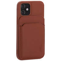 Коричневый кожаный чехол накладка Mutural для iPhone 12 mini с бумажником MagSafe