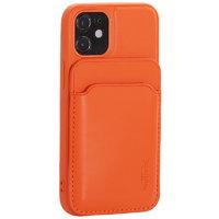 Оранжевый кожаный чехол накладка Mutural для iPhone 12 mini с бумажником MagSafe
