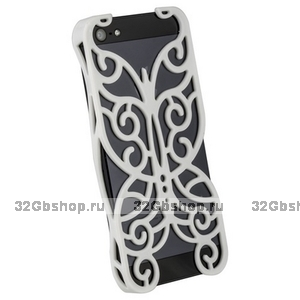 Накладка Chrome Butterfly Case White для iPhone 5 / 5s / SE белая бабочка