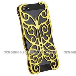 Накладка Chrome Butterfly Case Gold для iPhone 5 / 5s / SE золотая бабочка