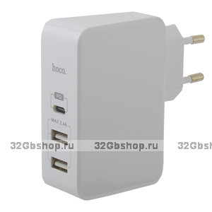 Блок питания Hoco C32A Xpress charger Apple - Android (2USB: 5V max 2.4A - Type-C 5V max 3.0A ) Белый