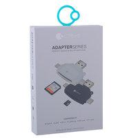 Кардридер COTEetCI 4в1 TF/ SD (microCD/ CD/ USB-C/ MicroUSB) Card reader Белый