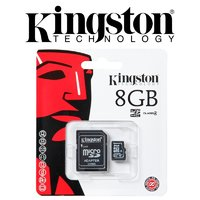 Карта памяти kingston  micro 8GB Class 10 + адаптер