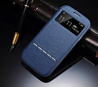 Чехол книга Crystal View для Samsung Galaxy S4 Mini темно синий с окном