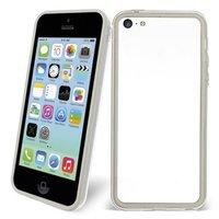 Пластиковый бампер для iPhone 5c белый с прозрачной вставкой