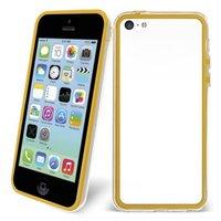 Пластиковый бампер для iPhone 5c желтый с прозрачной вставкой