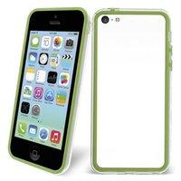 Пластиковый бампер для iPhone 5c зеленый с прозрачной вставкой