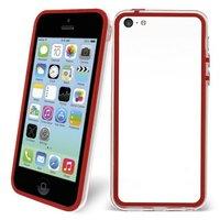Пластиковый бампер для iPhone 5c красный с прозрачной вставкой