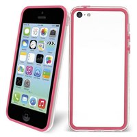 Пластиковый бампер для iPhone 5c розовый с прозрачной вставкой