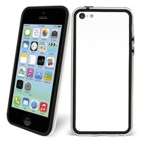Пластиковый бампер для iPhone 5c черный с прозрачной вставкой