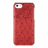 Накладка кожаная Melkco для iPhone 5C розовый страус - Melkco Leather Snap Cover Ostrich Print pattern - Fire Brick