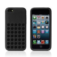 Чехол для iPhone 5c c отверстиями черный - Dots Silicone Case Black