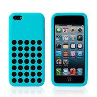 Чехол для iPhone 5c c отверстиями голубой - Dots Silicone Case Sky Blue